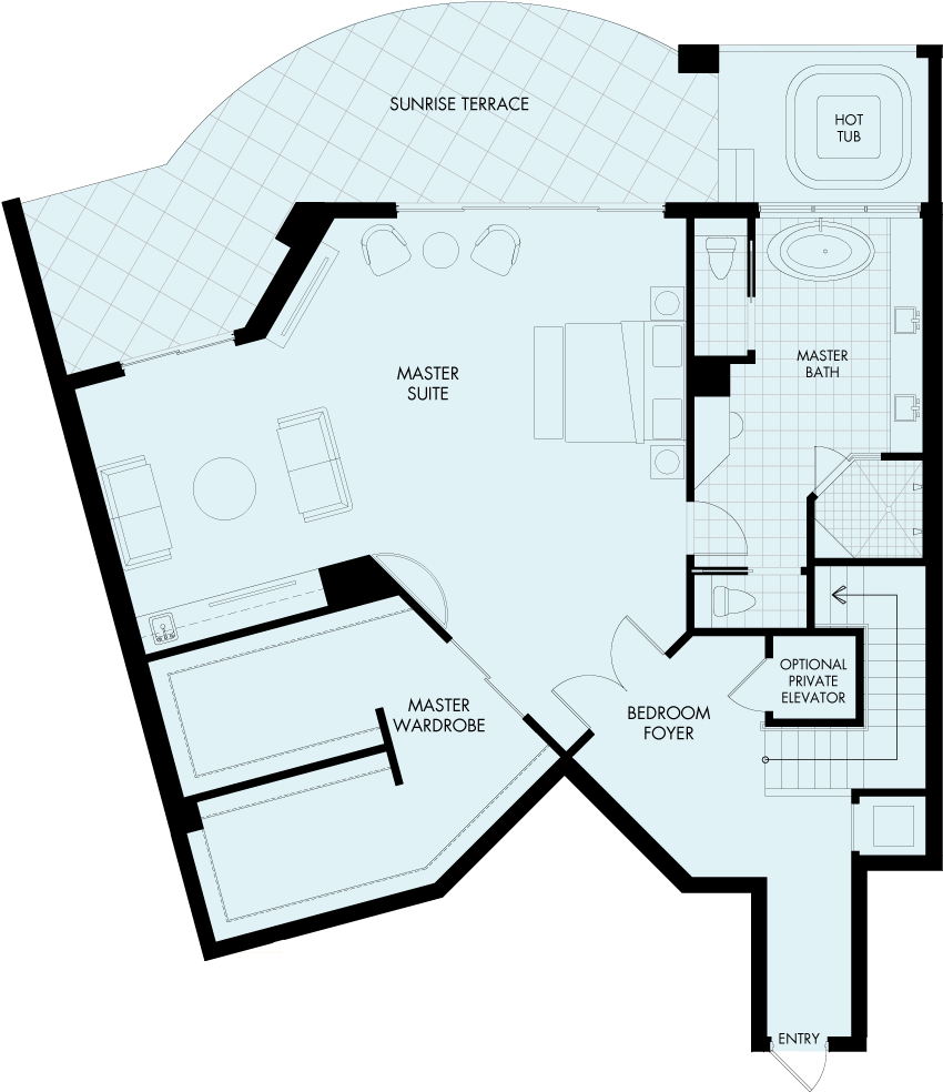 St Kitts Basseterre Penthouse floorplan Gulf front condo