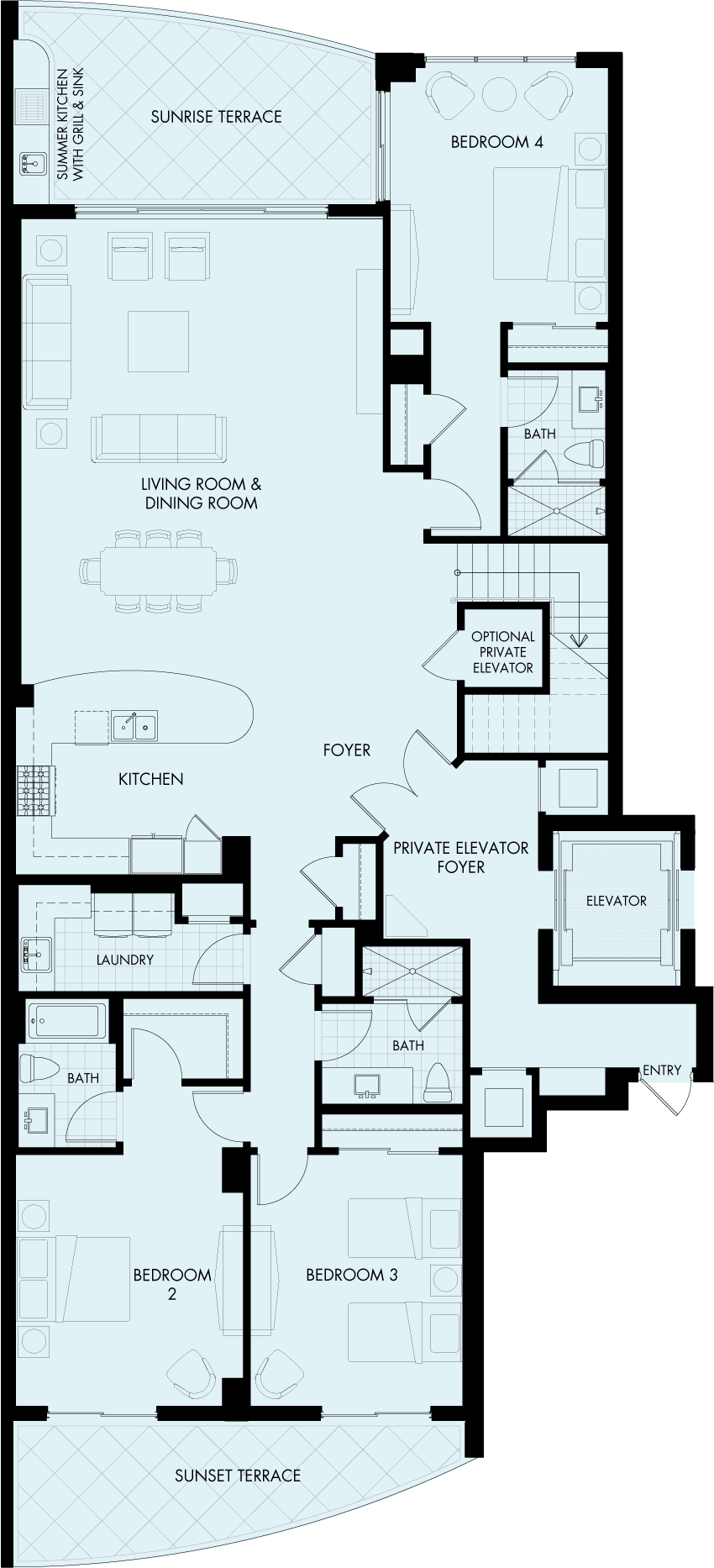 St Kitts Charleston Penthouse floorplan Gulf front condo