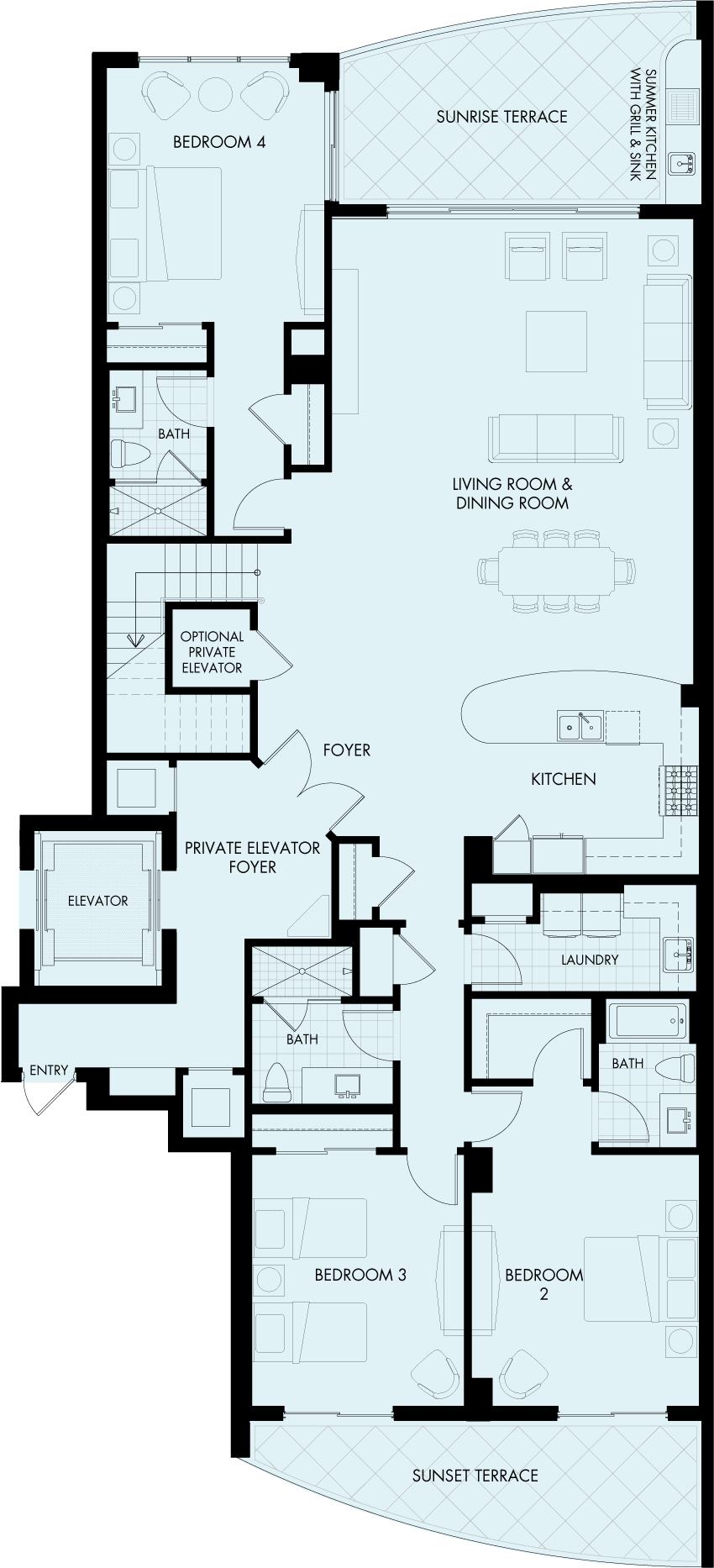 St Kitts Charleston Penthouse floorplan Gulf front condo