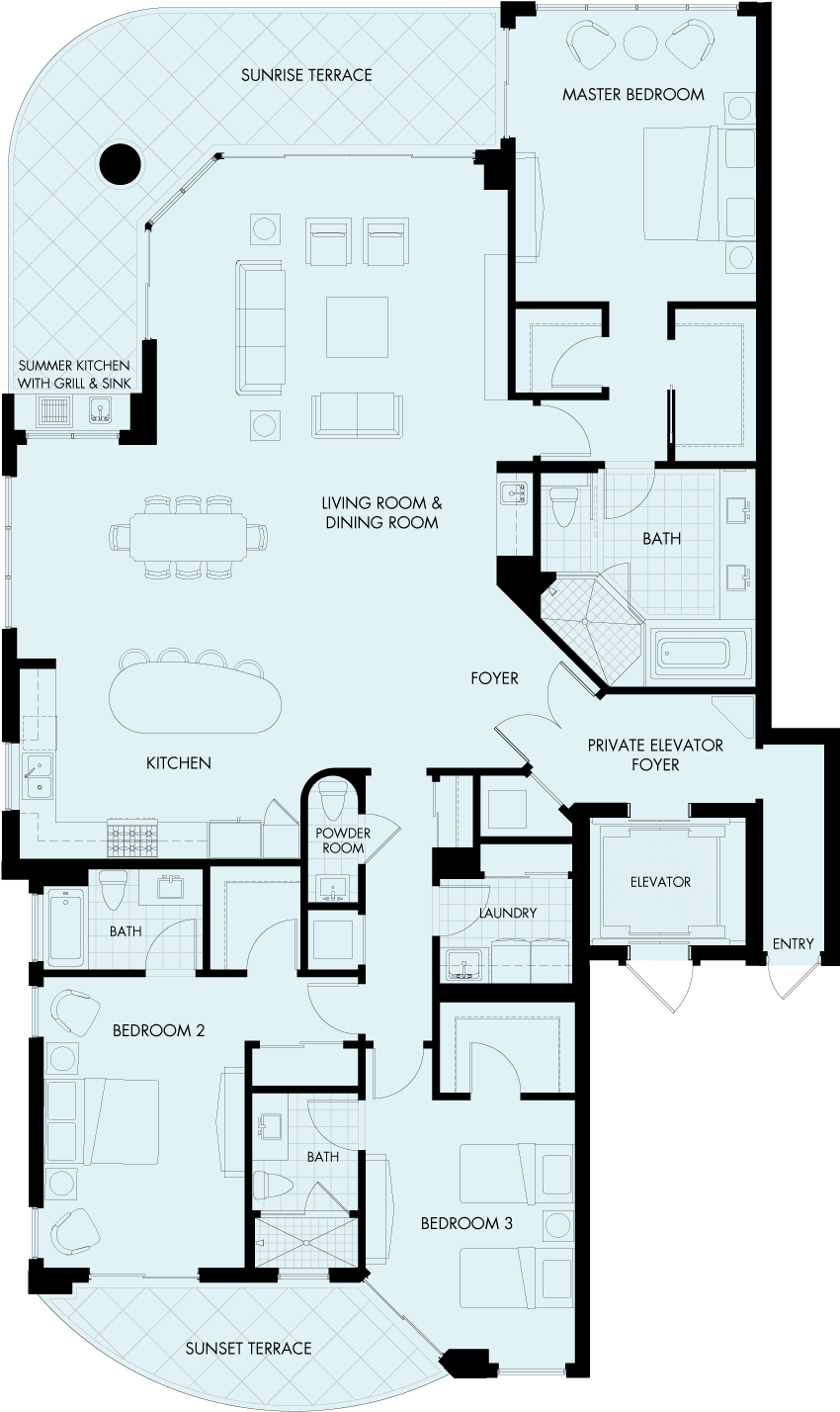 St Kitts Bellmont floorplan Gulf front condo
