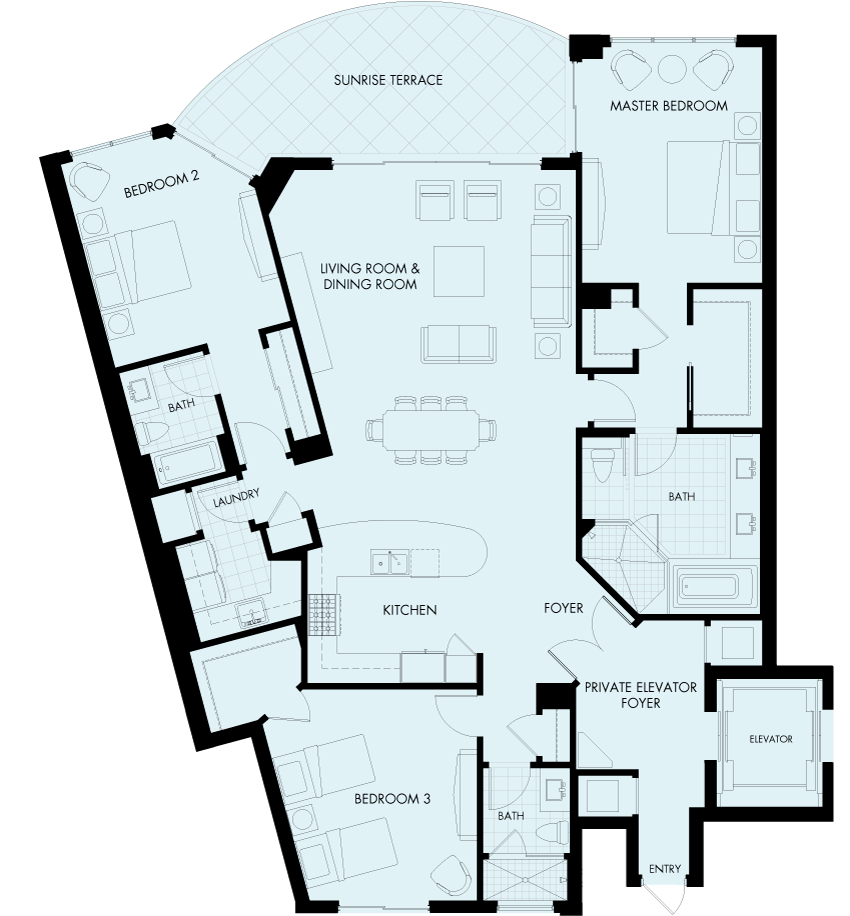 St Kitts Stapelton floor plan Gulf front condo
