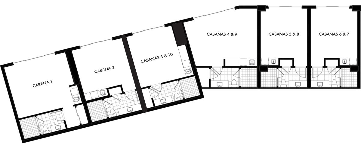 Floor plan drawing of 6 pool side cabanas at St. Kitts condo at Silver Shells Resort in Destin, FL.