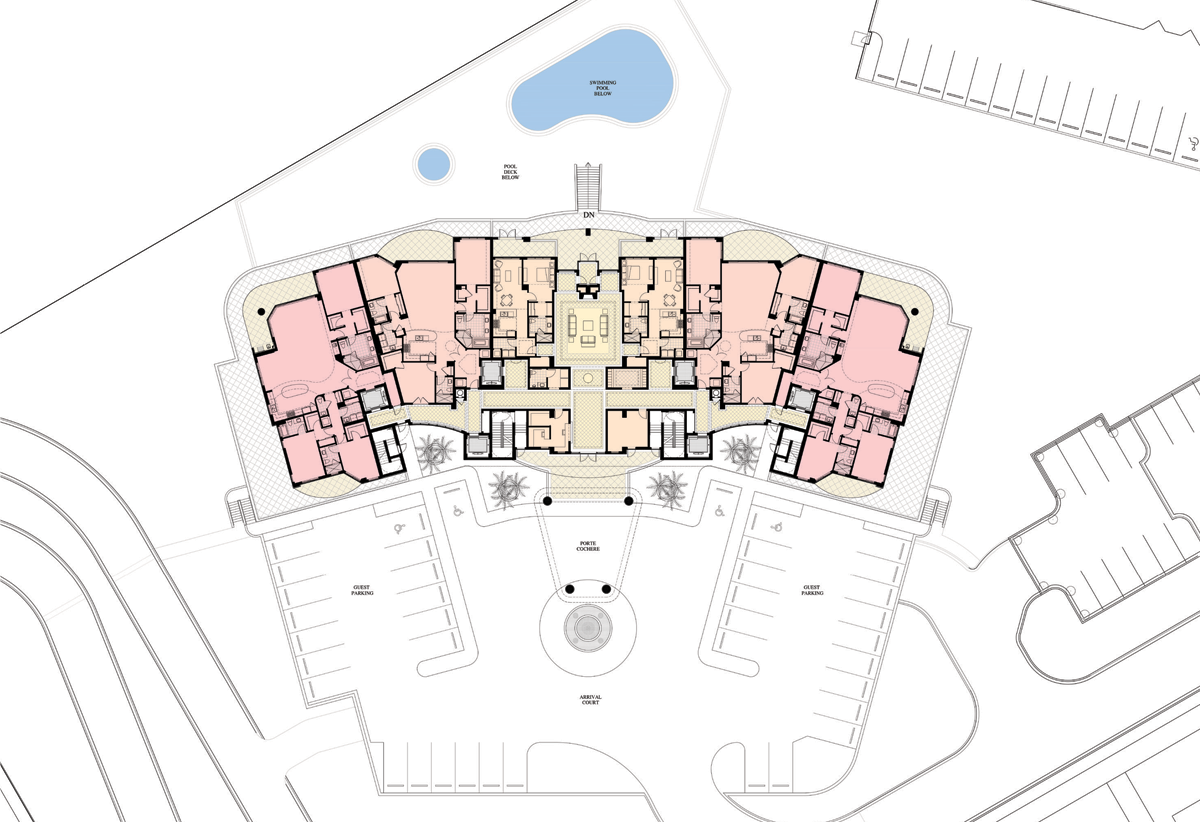 Architectural drawing of St. Kitts site plan at Silver Shells Resort in Destin, FL.